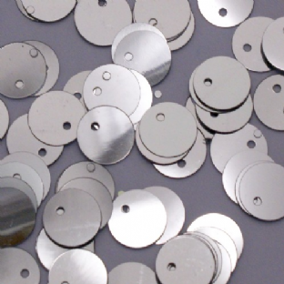 Bulk Bag 10mm Metallic Silver Flat Round Sequins x100g